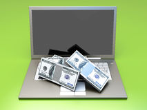 Money and Laptop Royalty Free Stock Photo