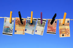 Money-laundering. If the euro is sure still or one himself must provide for it Royalty Free Stock Photography
