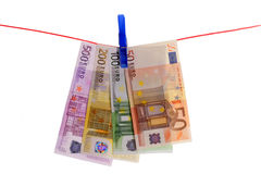 Money Laundering. Euro Bills on a Clothes Line Royalty Free Stock Photo