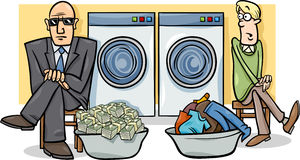 Money laundering cartoon illustration Royalty Free Stock Photo