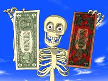 Money laundering - cartoon of skeleton with dollar Stock Photography