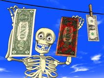 Money laundering - cartoon of skeleton with dollar Stock Photo