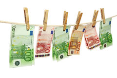 Money laundering on clothesline Royalty Free Stock Photo