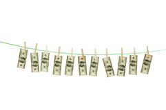 Money laundering concept with dollars. On the rope Stock Images