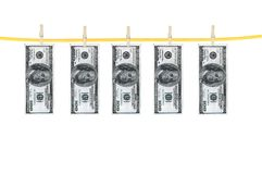 Money laundering and dry after wash hang on clothespins isolated Royalty Free Stock Photography