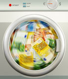 Money laundering. Euro European currency Royalty Free Stock Images