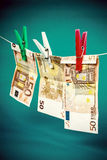 Money laundering from fifty euro notes Stock Images