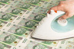 Money laundering -. Giving money - finances, loan - standing still. Inflation and the money value Stock Photo