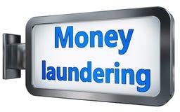 Money laundering on billboard. Money laundering wall light box billboard background , isolated on white Royalty Free Stock Photos