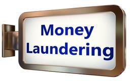 Money Laundering on billboard background. Money Laundering wall light box billboard background , isolated on white Royalty Free Stock Image