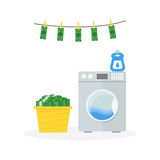 Money Laundering in Washer Concept. Vector Royalty Free Stock Images
