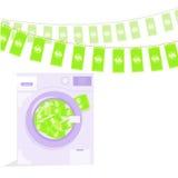 Money laundering in washing machine illustration Royalty Free Stock Photo