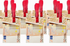 Money laundry, euro banknotes on clothespin Royalty Free Stock Images