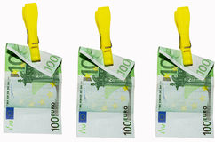 Money laundry, euro banknotes on clothespin Stock Photos