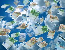 Money laundry, sky on the background. Real photo of money currencies Stock Images