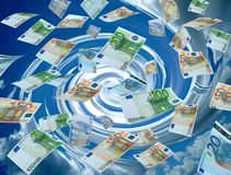 Money laundry,twirl sky on the background. Real photo of money currencies Stock Images