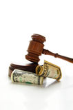 Money law. Judges court gavel with money (law suit Royalty Free Stock Photography