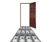 Money leading to the door Royalty Free Stock Photography