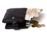 Money in leather  purse Stock Photos