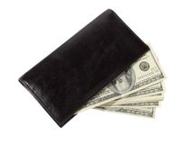 Money in a leather purse. On a white background Royalty Free Stock Image