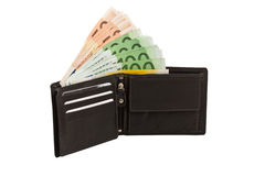 Money in leather purse. Isolated on white background Stock Photos