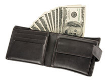 Money in leather purse isolated on white Royalty Free Stock Photo
