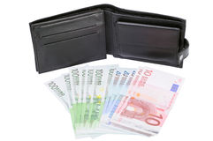 Money and leather wallet Royalty Free Stock Images