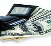 Money and Leather Wallet Stock Photos