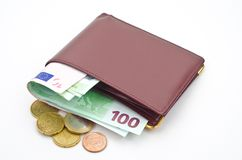 Money in leather wallet Royalty Free Stock Image