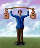 Money lifting. Businessman lifting two money bags. Mixed media illustration Royalty Free Stock Photo