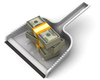 Money like garbage. Financial concept of devaluation Royalty Free Stock Photography