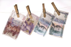 Money on line. Swedish money hanging on line Stock Image