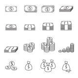 Money line icon. Money line Black vector  icon 01 Royalty Free Stock Photography