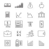 Money line  icon set Royalty Free Stock Photography
