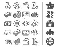 Money line icons. Banking, Wallet and Coins. Money line icons. Set of Banking, Wallet and Coins signs. Credit card, Currency exchange and Cashback service. Euro Stock Photography