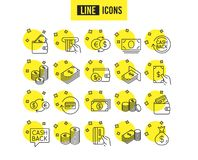Money line icons. Banking, Wallet and Coins. Vector royalty free illustration