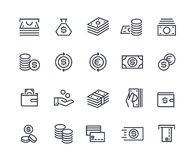 Money line icons. Business payment money market commercial exchange. Cash card wallet, coins vector symbols. Money line icons. Business payment money market stock illustration