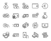 Money line icons. Credit card, Cash and Coins. Money line icons. Set of Credit card, Cash and Coins signs. Banking, Currency exchange and Cashback service Stock Photos