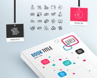 Money line icons. Credit card, Cash and Coins. Money line icons. Set of Credit card, Cash and Coins signs. Banking, Currency exchange and Cashback service Royalty Free Stock Photography