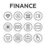 Money line  icons set. Money finance, credit card bank, co. Mmerce currency coin, cash money Stock Images