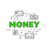 Money line illustration. Line flat design for website Stock Photos