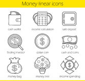 Money linear icons set. Cash wallet, income calculation and safe deposit. Money bag, income spending, dollar coin, finding investor and money tree. Thin line Stock Photos