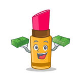 With money lipstick character cartoon style Royalty Free Stock Image