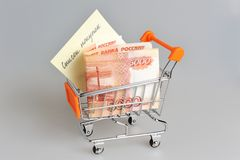 Money, list of purchases in shopping cart on gray Royalty Free Stock Photos