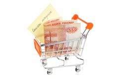 Money, list of purchases in shopping cart isolated Stock Images