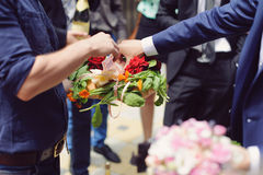Money on Loaf with Flowers Stock Images