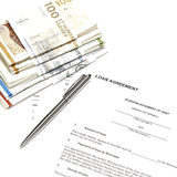 Money loaning. Closeup of elements used in a money loan Royalty Free Stock Images