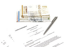 Money loaning. Closeup of elements used in a money loan Stock Photography