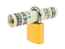 Money and lock Royalty Free Stock Photo