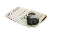 Money and the lock Royalty Free Stock Photo